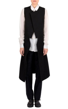 Rohit Gandhi + Rahul Khanna Black textured layered jacket