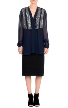 Rohit Gandhi + Rahul Khanna Navy blue embroidered top