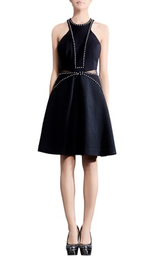 Rohit Gandhi + Rahul Khanna Navy blue waist-cutout skater dress