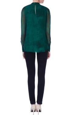 green silk high neck blouse