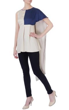 beige & navy blue color block top