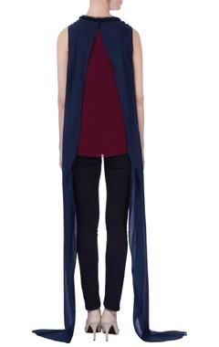 blue & maroon drape style blouse