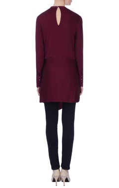 burgundy v-neck silk blouse