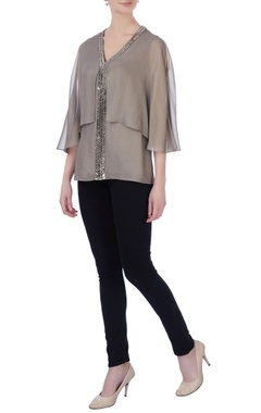 Rohit Gandhi + Rahul Khanna Grey double layer georgette blouse