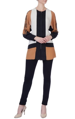 Rohit Gandhi + Rahul Khanna Brown & black color block blouse