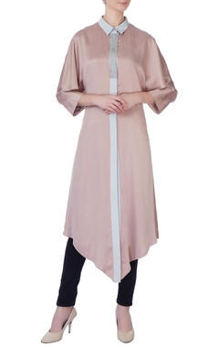Rohit Gandhi + Rahul Khanna Beige & grey silk asymmetric kurta