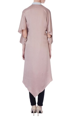 Beige & grey silk asymmetric kurta