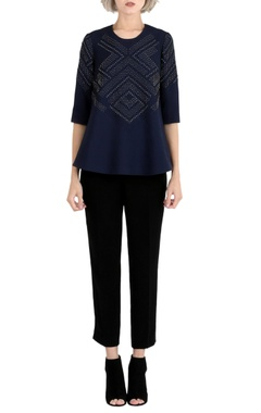 Rohit Gandhi + Rahul Khanna Ink blue embroidered top