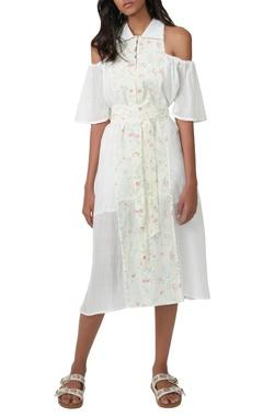White floral printed midi dress