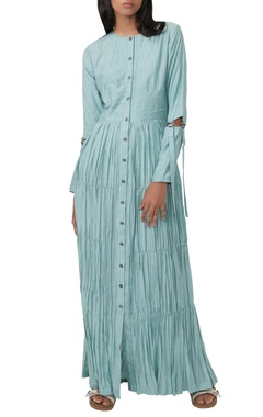 aqua blue striped gathered dress