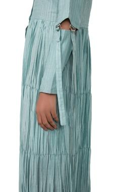 Aqua blue striped gathered dress