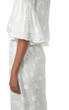 White floral printed tie up dress