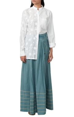 White printed top & blue skirt