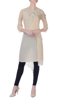 light beige double layered kurta