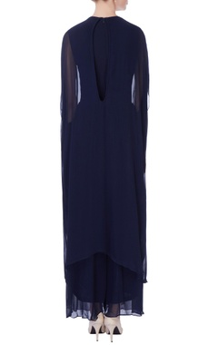 navy blue embroidered jumpsuit