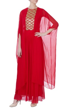 red layered flared jumpsuit