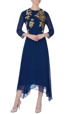 blue floral embroidered tunic