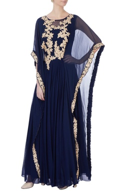 blue georgette double layer kaftan