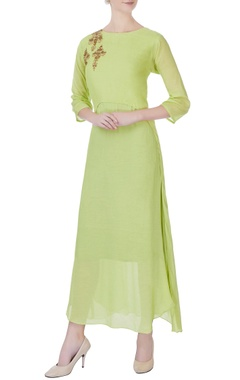 lime green mulmul kurta
