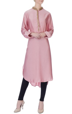 pink embroidered satin tunic