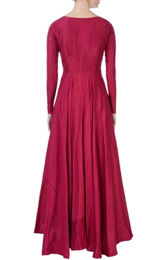 red raw silk flared gown