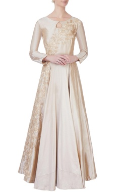 beige flared embroidered silk gown