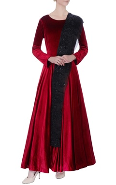 maroon embroidered anarkali set