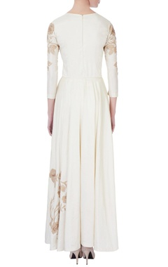 cream silk flared gown