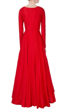 red flared embroidered gown