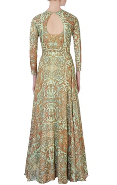 green & brown printed anarkali