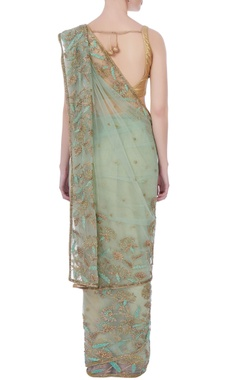 sea green sari with blouse-piece & petticoat