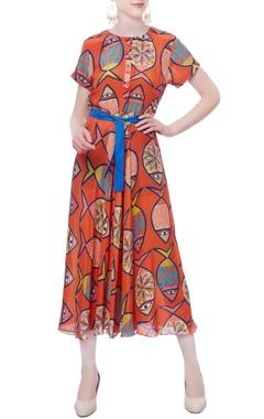 orange fish printed dress