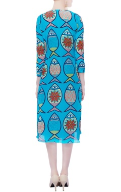 turquoise blue printed dress