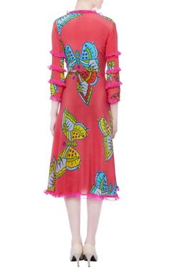 Rasberry pink printed dress