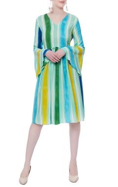 multicolored striped printed dress