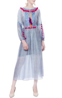 blue thread tassels maxi dress