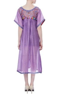 purple printed tassels dress