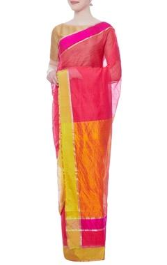 Pink chanderi zari sari