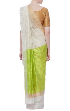 off white lotus zari sari