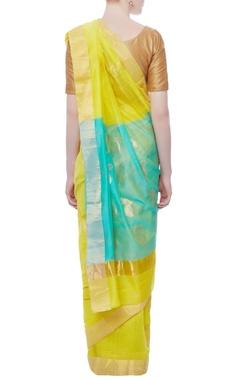 Lime yellow zari embroidered sari