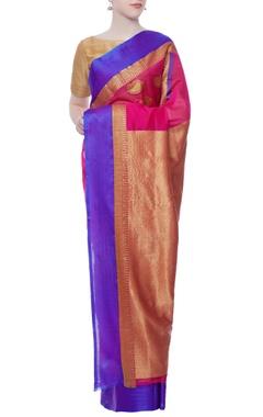 fuschia pink chanderi sari