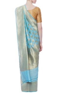 blue brocade sari with blouse piece