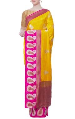 Yellow & purple banarasi silk sari