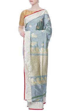 grey zari sari with unstitched blouse