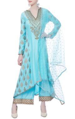 blue chanderi silk kurta set