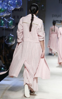pink stripe trench coat