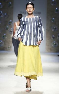 yellow flared midi skirt
