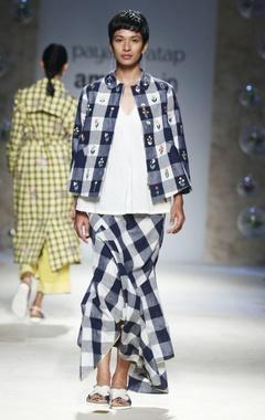 blue & white gingham check skirt