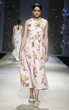 Payal Pratap Pink floral printed midi dress