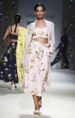 Payal Pratap Pink floral printed bralette blouse